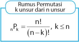 Rumus Permutasi k unsur dari n unsur