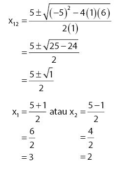 Hasil persamaan kuadrat dengan rumus abc 1