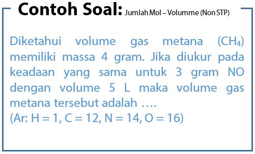 Contoh Soal Hubungan Jumlah Mol dan Volume pada Keadaan Non STP