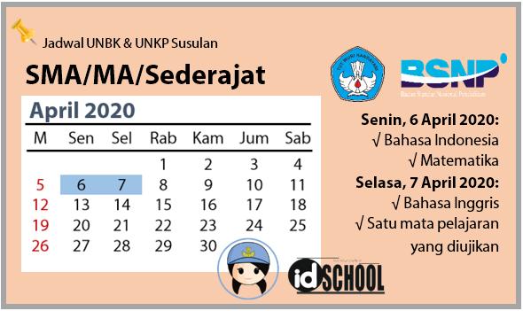 Jadwal UNBK dan UNKP Susulan Tingkat SMA MA Sederajat 2020