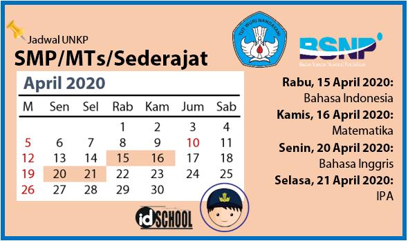 Jadwal UNKP SMP/MTs/Sederajat 2020
