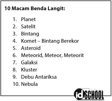 10 Macam Benda Langit