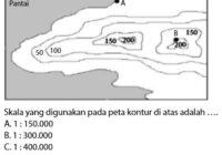 Contoh Soal Cara Menghitung Skala dengan Garis Kontur pada Peta Topografi