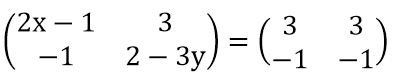 Nilai x dan y di dalam Matriks