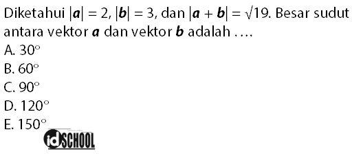 Soal Besar Sudut Antara Vektor a dan B