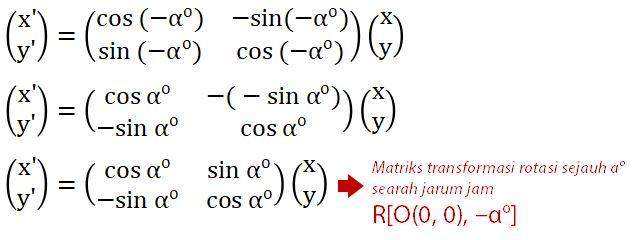Matriks Rotasi Searah Jarum Jam pada Pusat O
