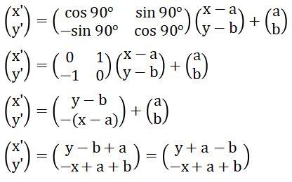 Matriks Rotasi Searah Jarum Jam pada Pusat P(a, b) Sejauh 90 Derajat