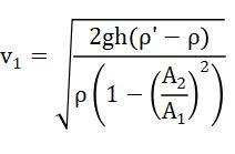 Rumus Kecepatan Air yang Masuk/Keluar Pipa Venturimeter dengan Manometer