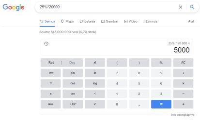 Contoh Cara Menghitung Persen dari Jumlah Total Melalui Mesin Pencari Google