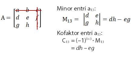 Minor dan Kofaktor Entri a13