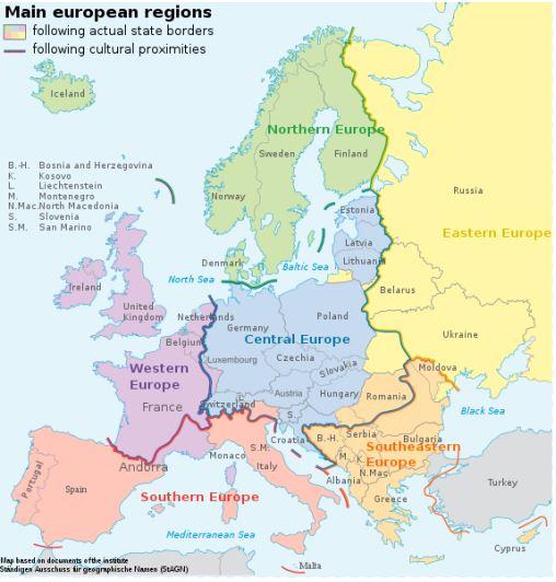 Pembagian Wilayah Benua Eropa Beserta Negara dan Ibukotanya